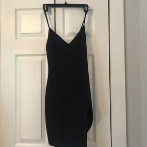 Blue Blush Black Side Slit Dress Size Medium